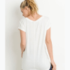Essential Round Neck Cap Sleeve Shirt - Back White