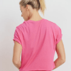 Supima® Cotton Crop Top with Short Tulip Sleeves - Back Fuschia