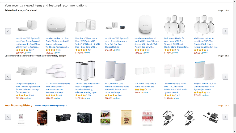 Horizontal scrolling works well when you want to entice your user with related content, like Amazon does with its related items.