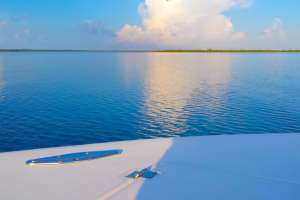 smooth seas on the boat during a mangrove tour in grand cayman