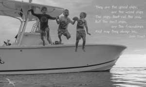 3 boys boys jumping off our private charter boat with the irish toast: they are good ships are the wood ships The ships that sail the sea. But the best ships are the friendships And may they always be.