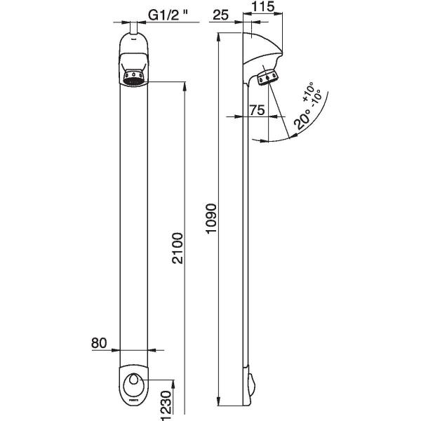 panneau de douche en applique avec robinet d arret droit 1 2 dl 400 se presto