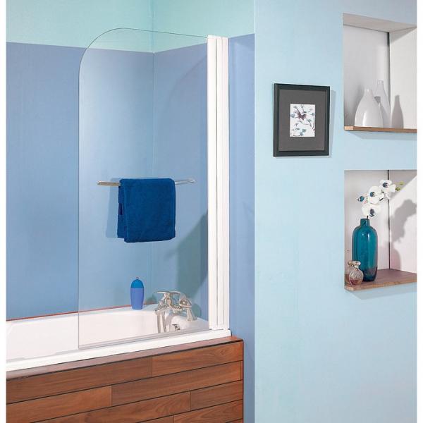 pare baignoire relevable verre transparent 1 ventail 140 x 80 cm aqualift kinedo