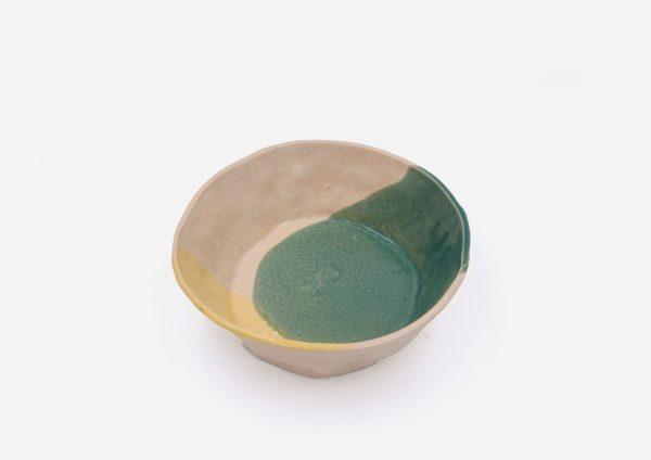 Plato Vajilla Litio. Mancha Verde y Amarillo. (Bowl)