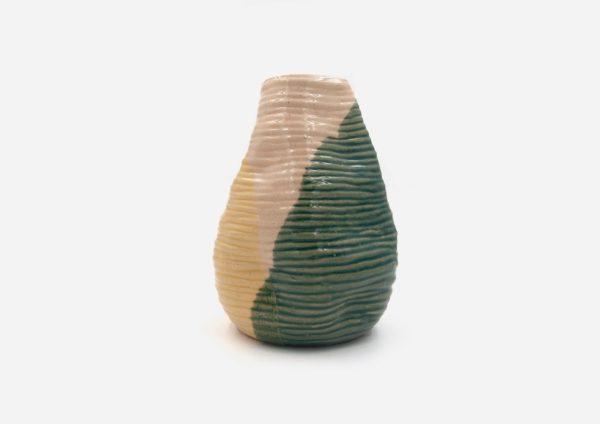 Florero Rollo Arrugado. Mancha Verde y Amarillo. (M)