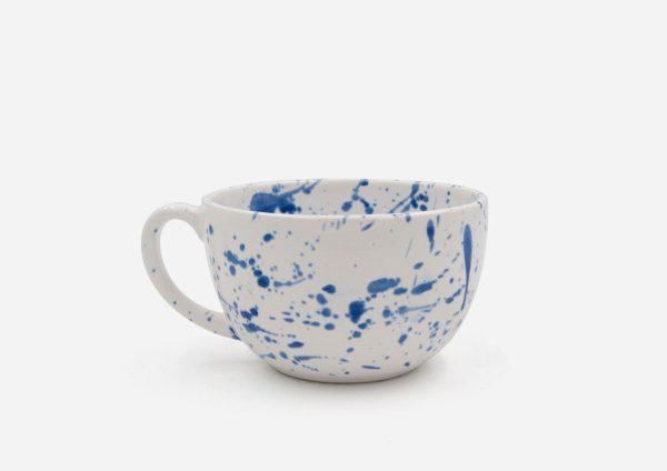 Taza Grande. Blanco Dalmata Azul. (L)
