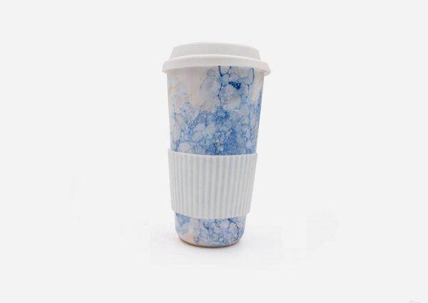 Keep Cup. Blanco Burbujas Azul Oscuro. (L)