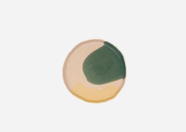 Plato Vajilla Litio. Mancha Verde y Amarillo. (S)