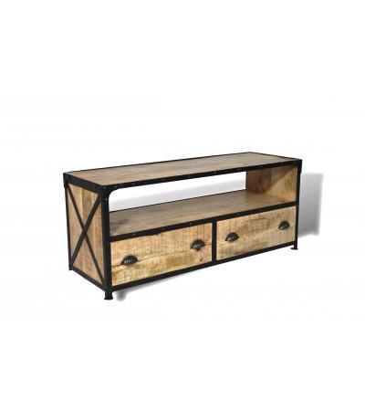 meuble tv en bois patine et metal