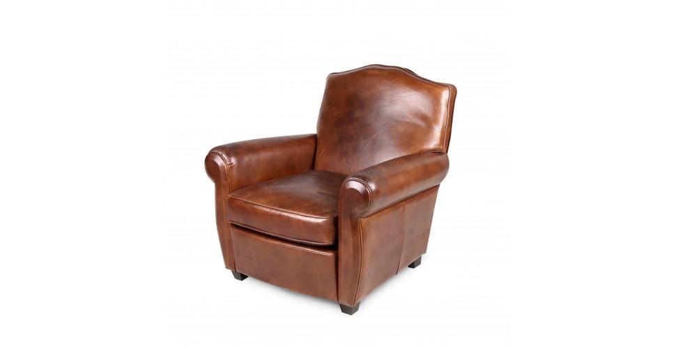 fauteuil club cuir vintage marron palermo