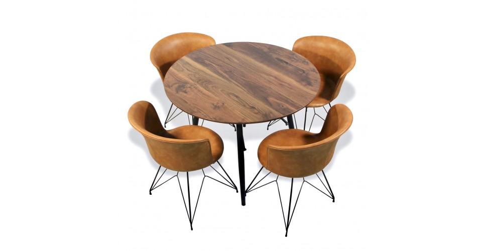 table de repas ronde avec 4 chaises cuir brun