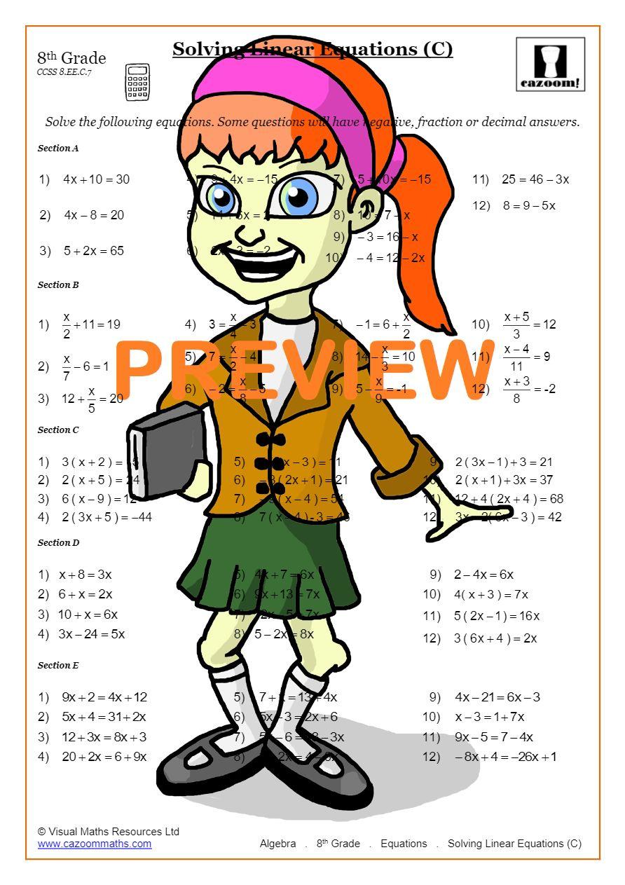 medium resolution of Solving Linear Equations Worksheets PDF   Cazoom Math