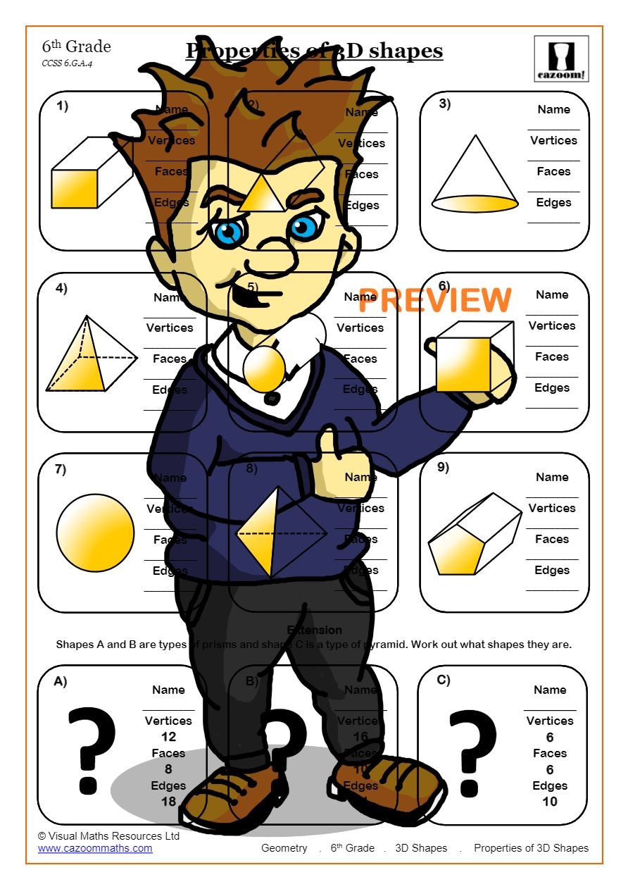 medium resolution of Free 3D Shapes Worksheets   Cazoom Maths