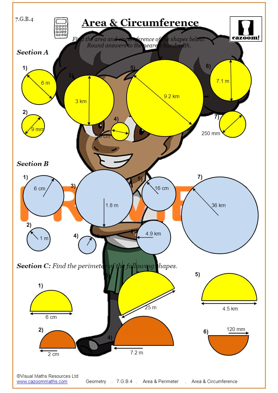 medium resolution of Area and Circumference of a Circle worksheet PDF   Circles Worksheets