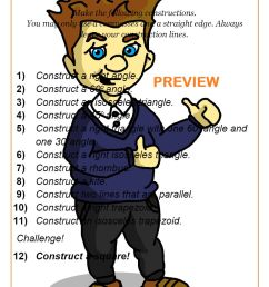 Constructions Worksheet PDF   Triangle Construction Worksheet [ 1262 x 892 Pixel ]
