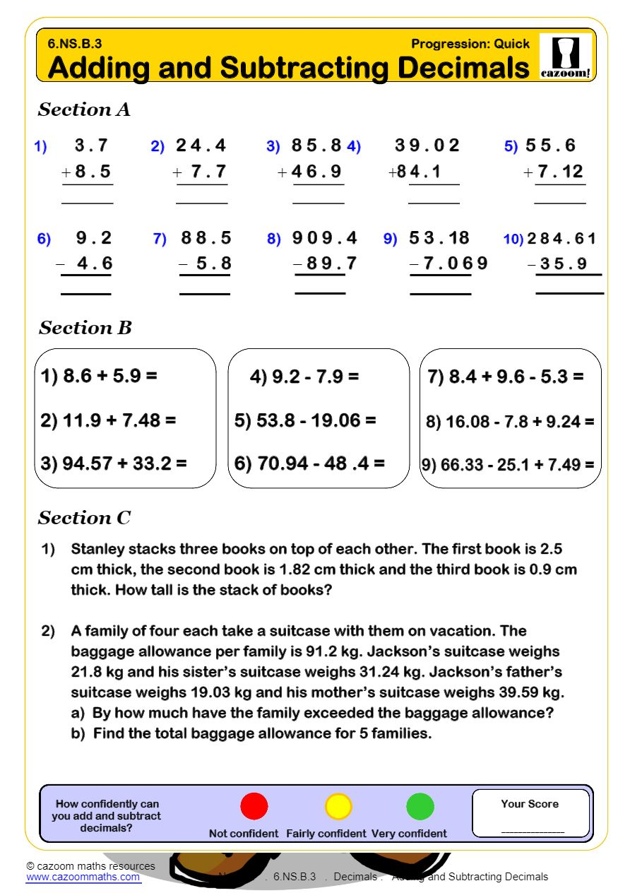 hight resolution of Decimals Worksheets PDF   Cazoom Math Worksheets