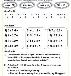 KS2 Decimals Worksheets PDF   Decimals Worksheets GCSE [ 1262 x 892 Pixel ]