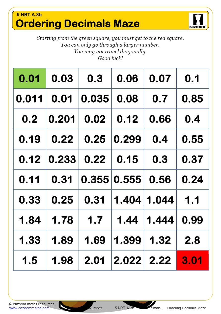 medium resolution of KS2 Decimals Worksheets PDF   Decimals Worksheets GCSE