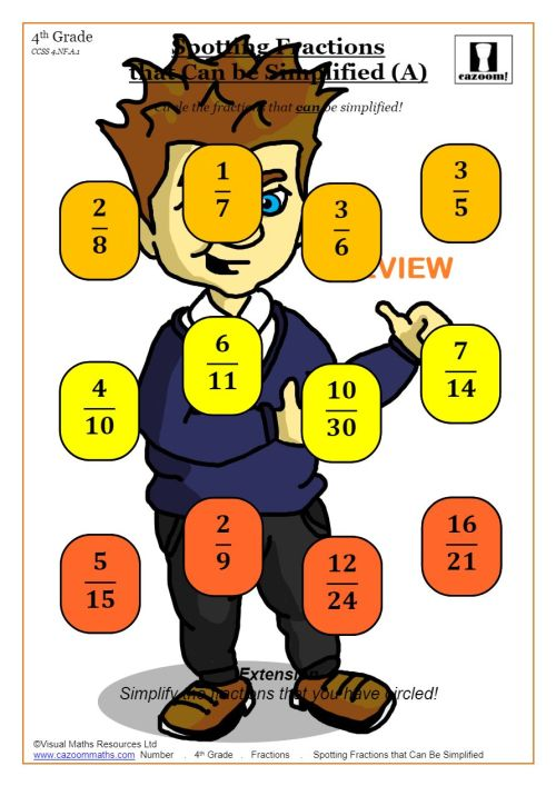 small resolution of Best Simplifying Fractions Worksheets   Cazoom Maths
