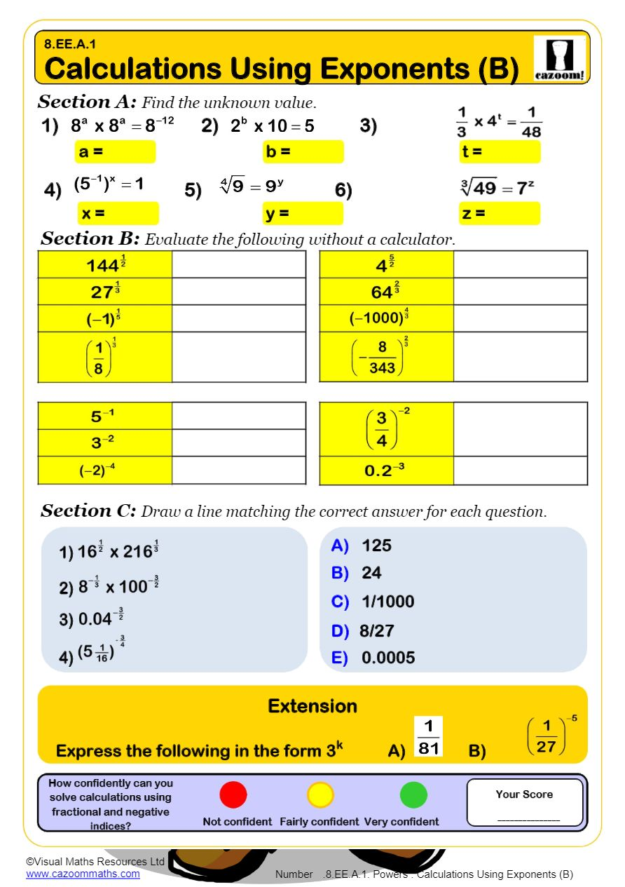 medium resolution of Powers Math Worksheets   Laws of Exponents Worksheets