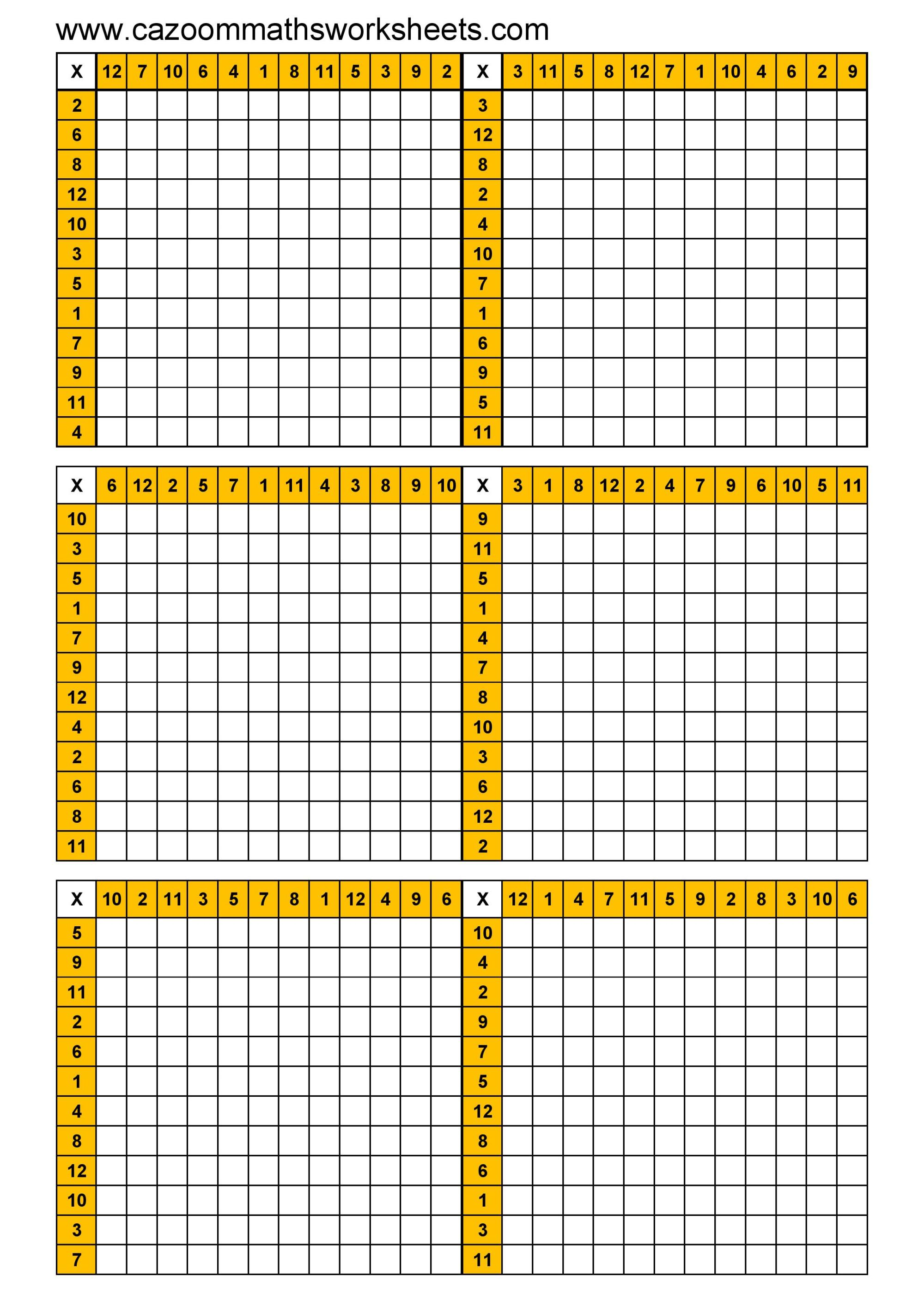 hight resolution of blank times table grid