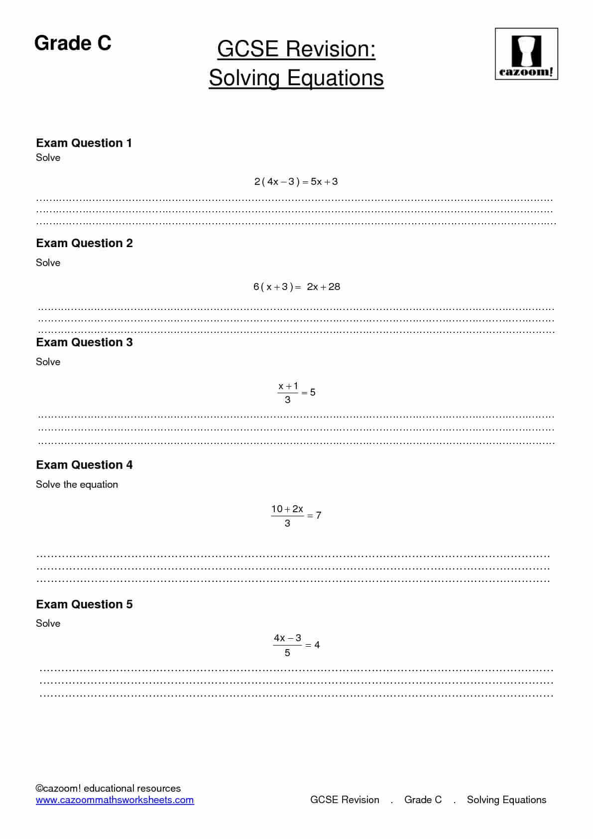 Solving Equations Revision Worksheet