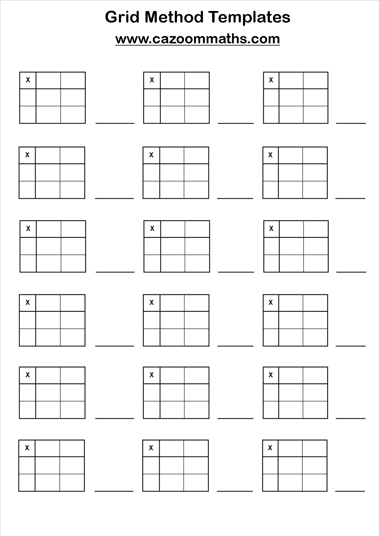 X2 Array Worksheet
