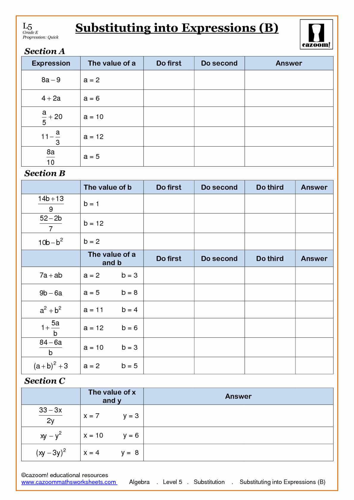 9th Grade Math Substitution Worksheet