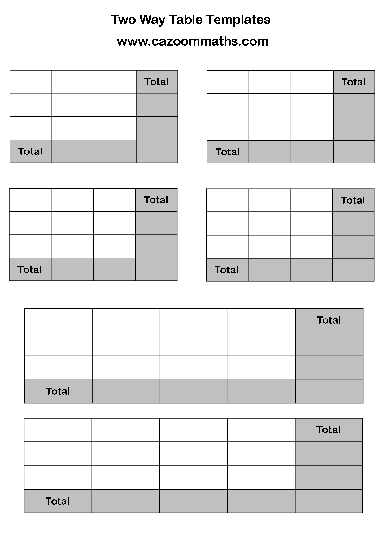 Complete Frequency Table Worksheet