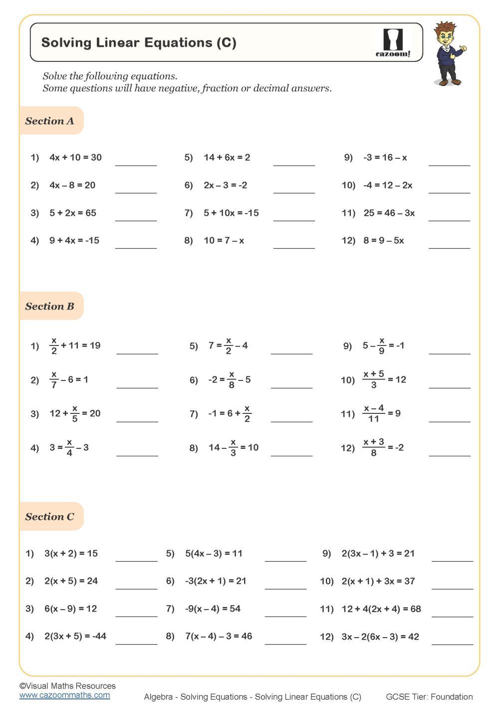 medium resolution of Year 8 Maths Worksheets   Cazoom Maths Worksheets