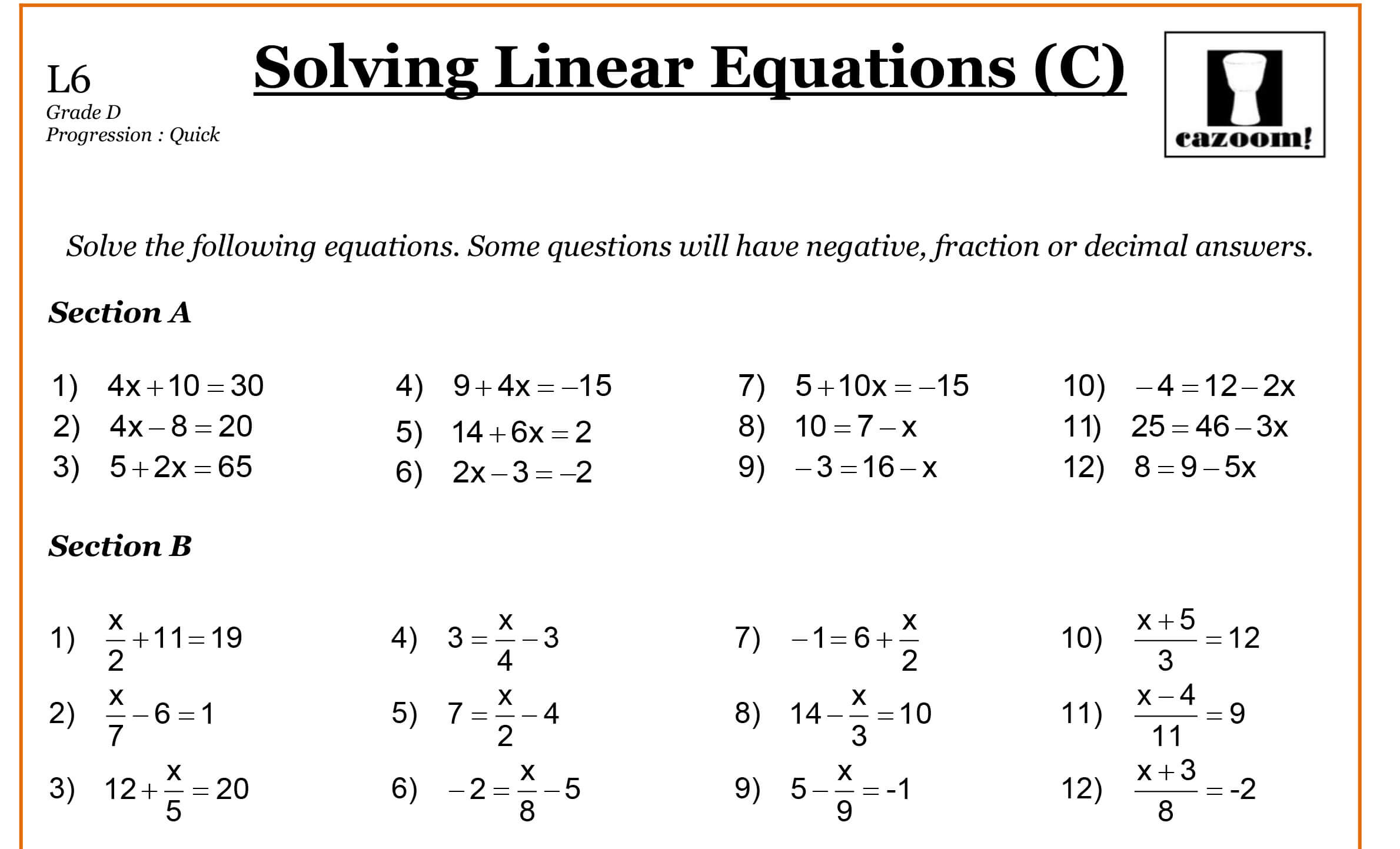 Linear Equation Worksheet For Grade 8