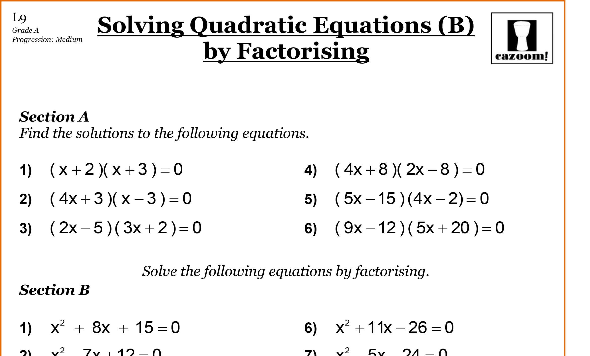 Math Worksheet Quadratics