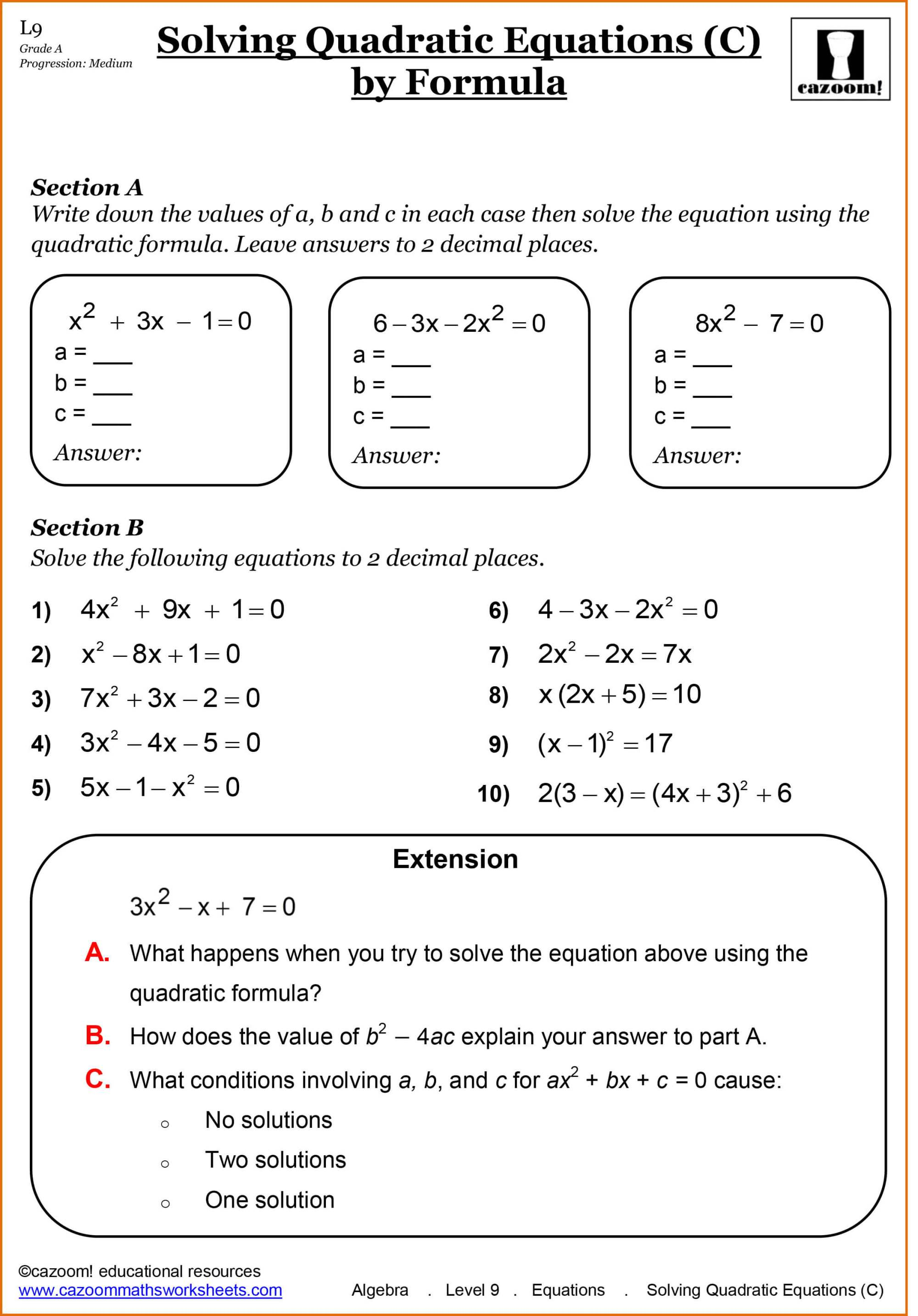 hight resolution of Year 11 Maths Worksheets   Cazoom Maths Worksheets