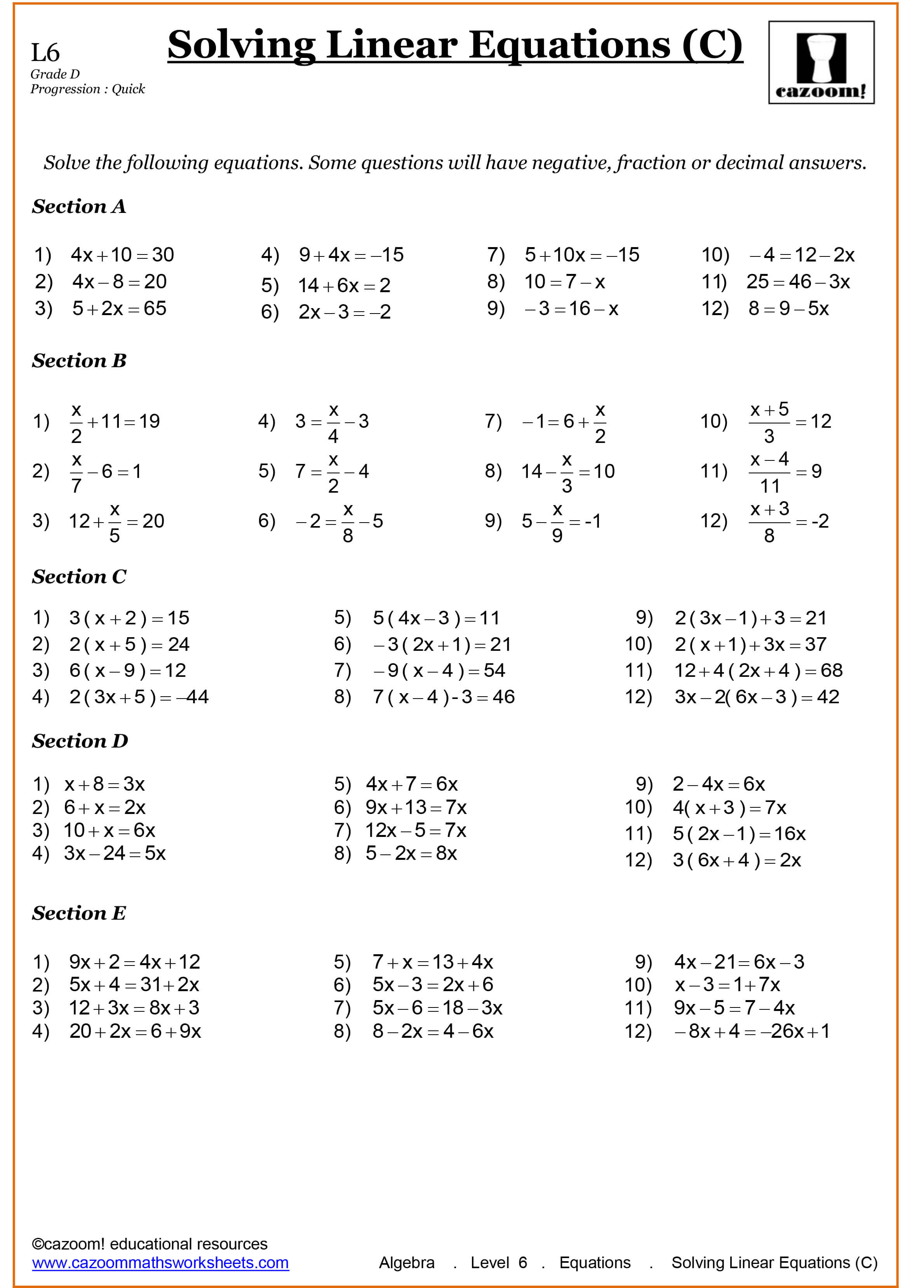Solving Linear Equations Worksheets Year 9