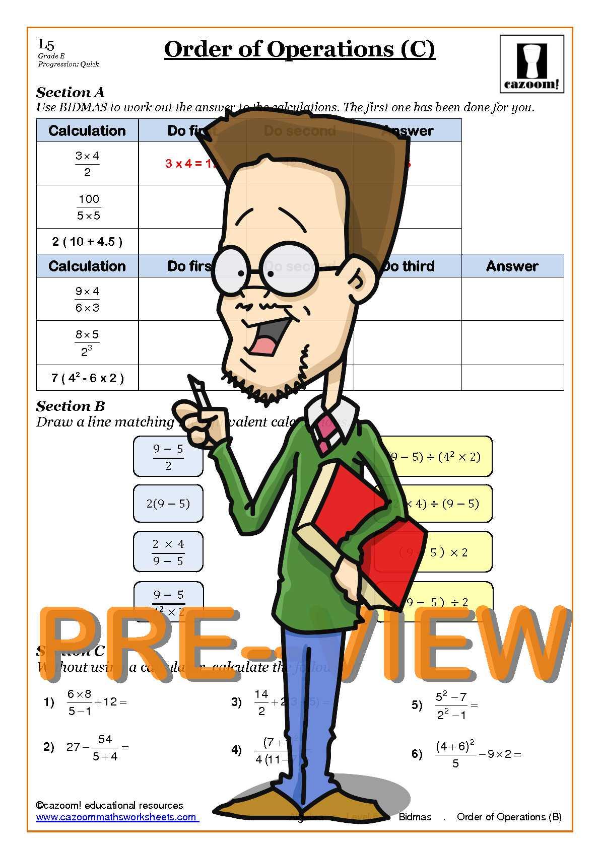 Printable Bodmas Worksheets