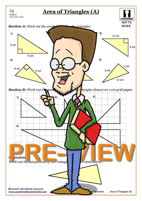 medium resolution of Area Worksheets KS3   Perimeter Area Worksheets   Area of Triangles