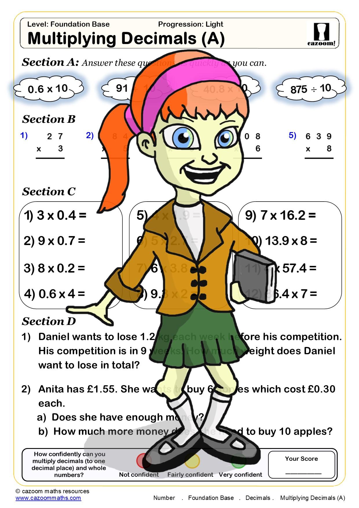 hight resolution of Cazoom Maths Worksheets - Decimals Maths Worksheets