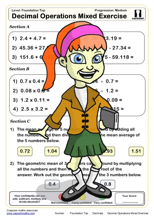 small resolution of Year 8 Number Maths Worksheets   Cazoom Maths