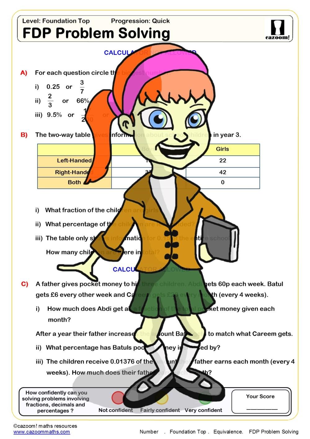 medium resolution of Cazoom Maths Worksheets - Fraction Decimal Percentage Worksheets