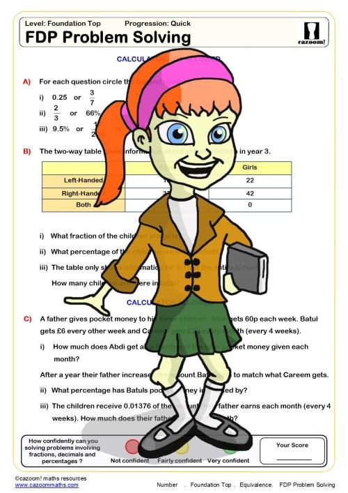 small resolution of Cazoom Maths Worksheets - Fraction Decimal Percentage Worksheets