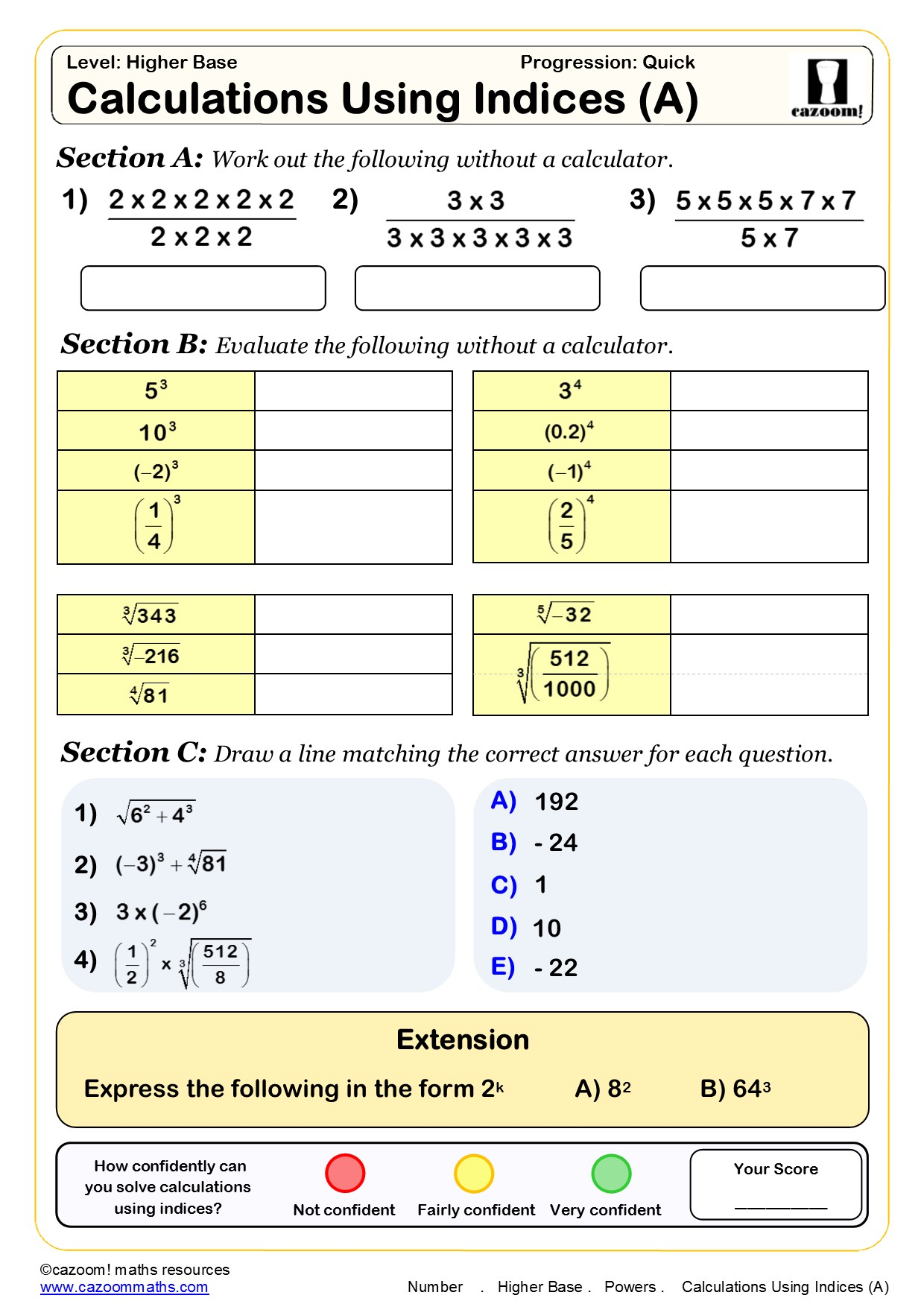 Worksheet On Indices