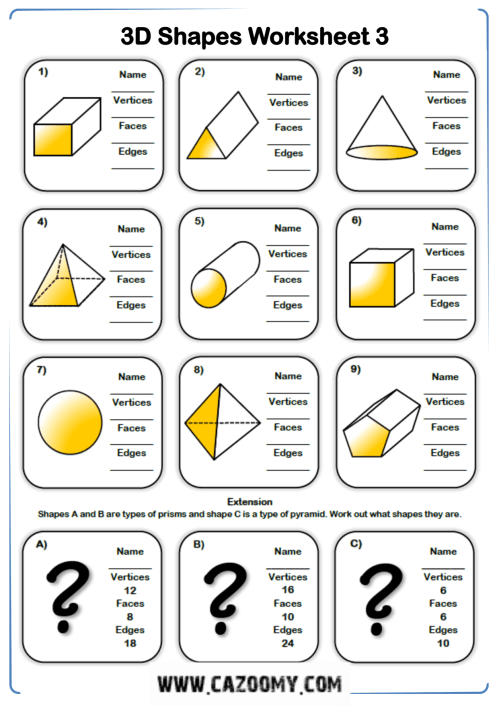 small resolution of Names And Faces Edges Vertices 3d Shapes Worksheets   Printable Worksheets  and Activities for Teachers