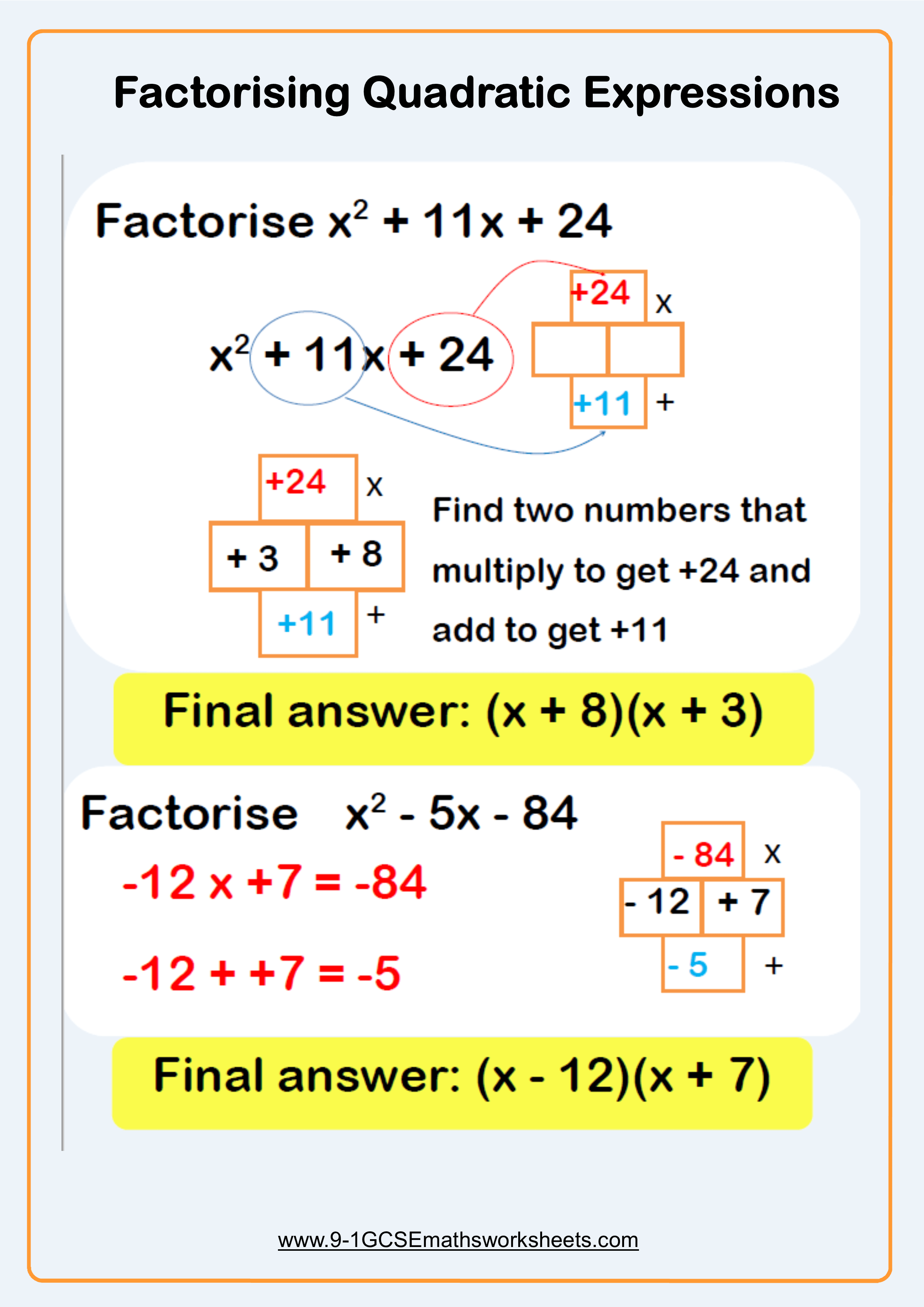 Factorising Worksheets Cazoomy