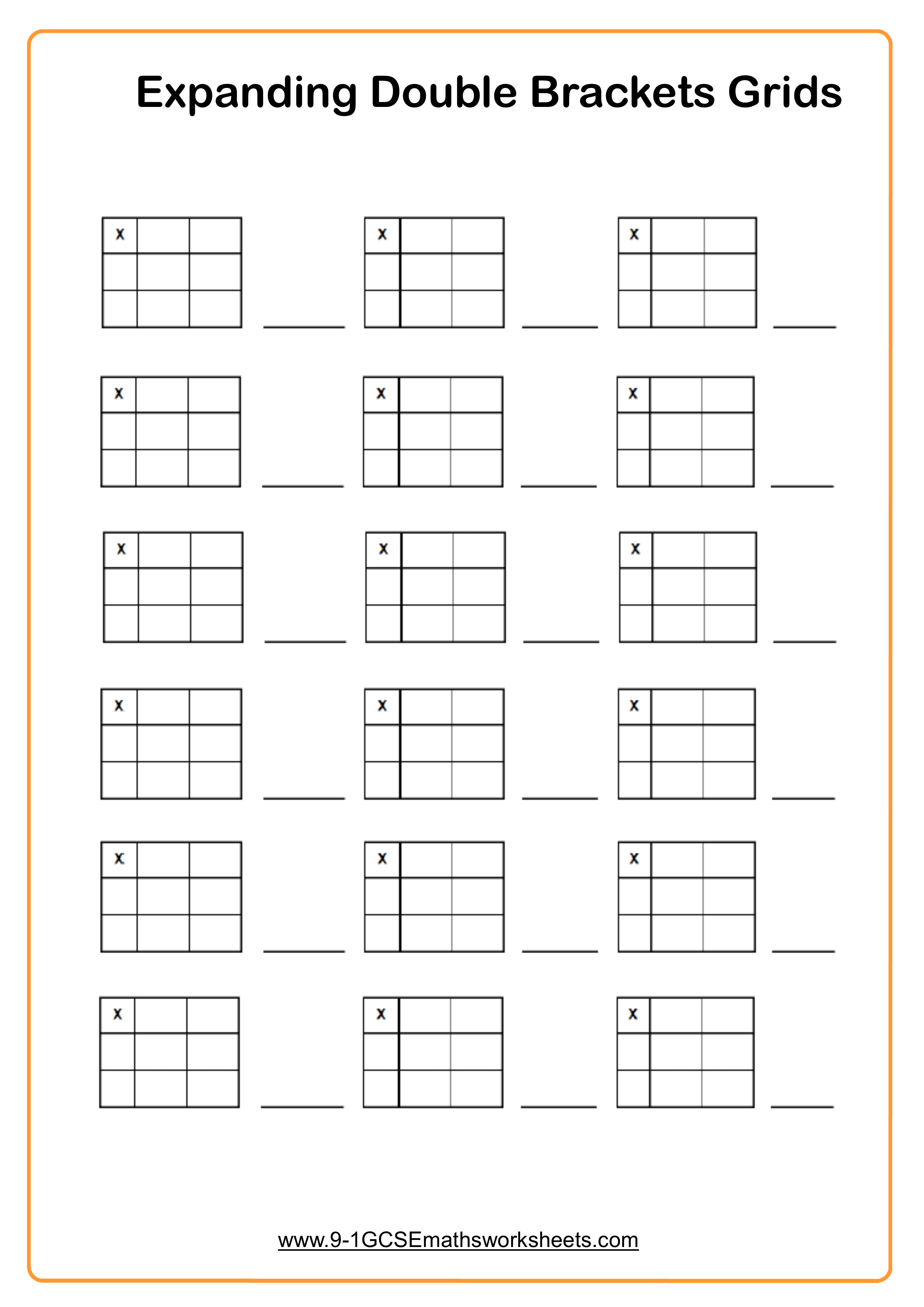 Expanding Double Brackets Worksheet Practice Questions