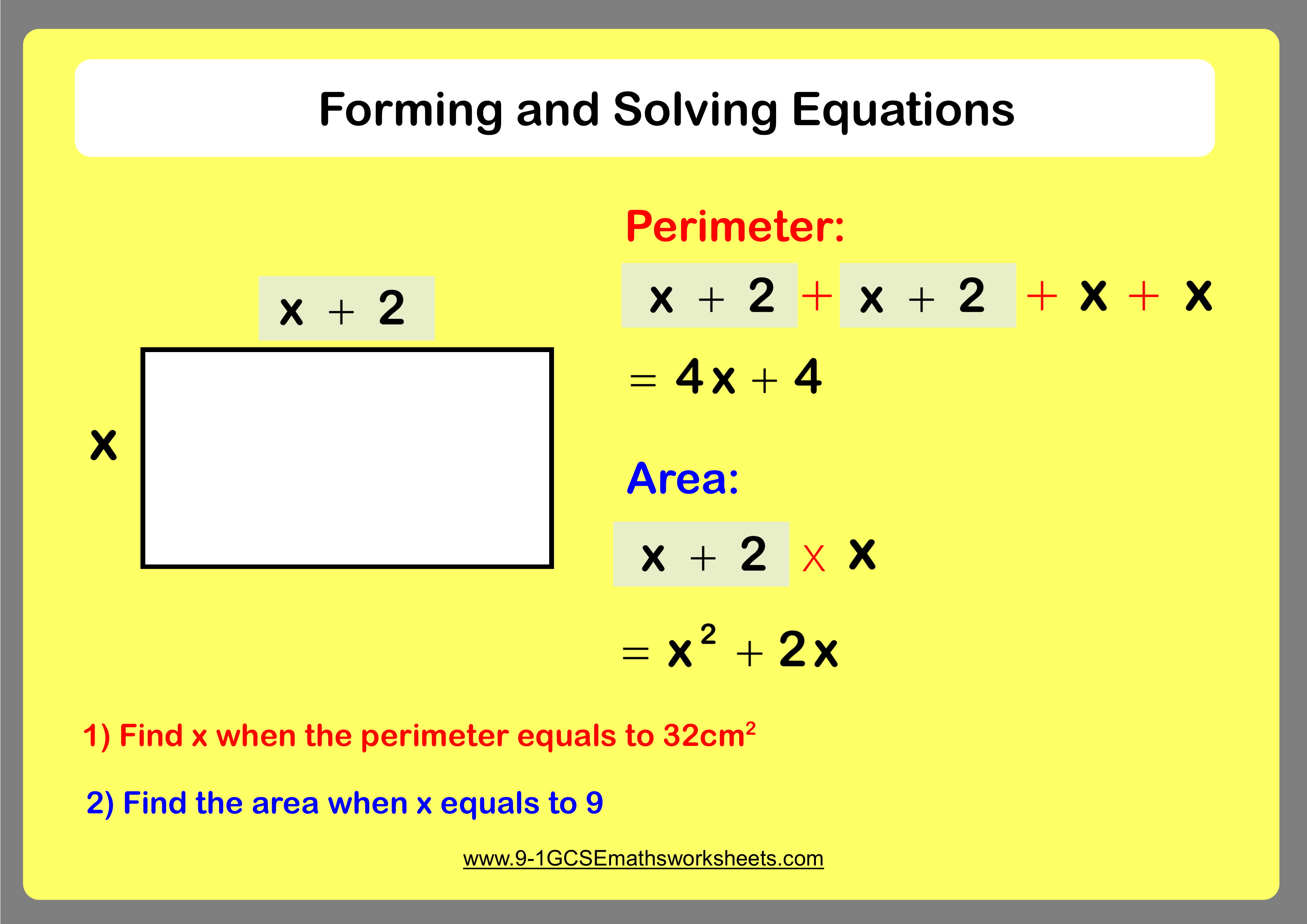 Forming Solving Equations Worksheet Practice Questions