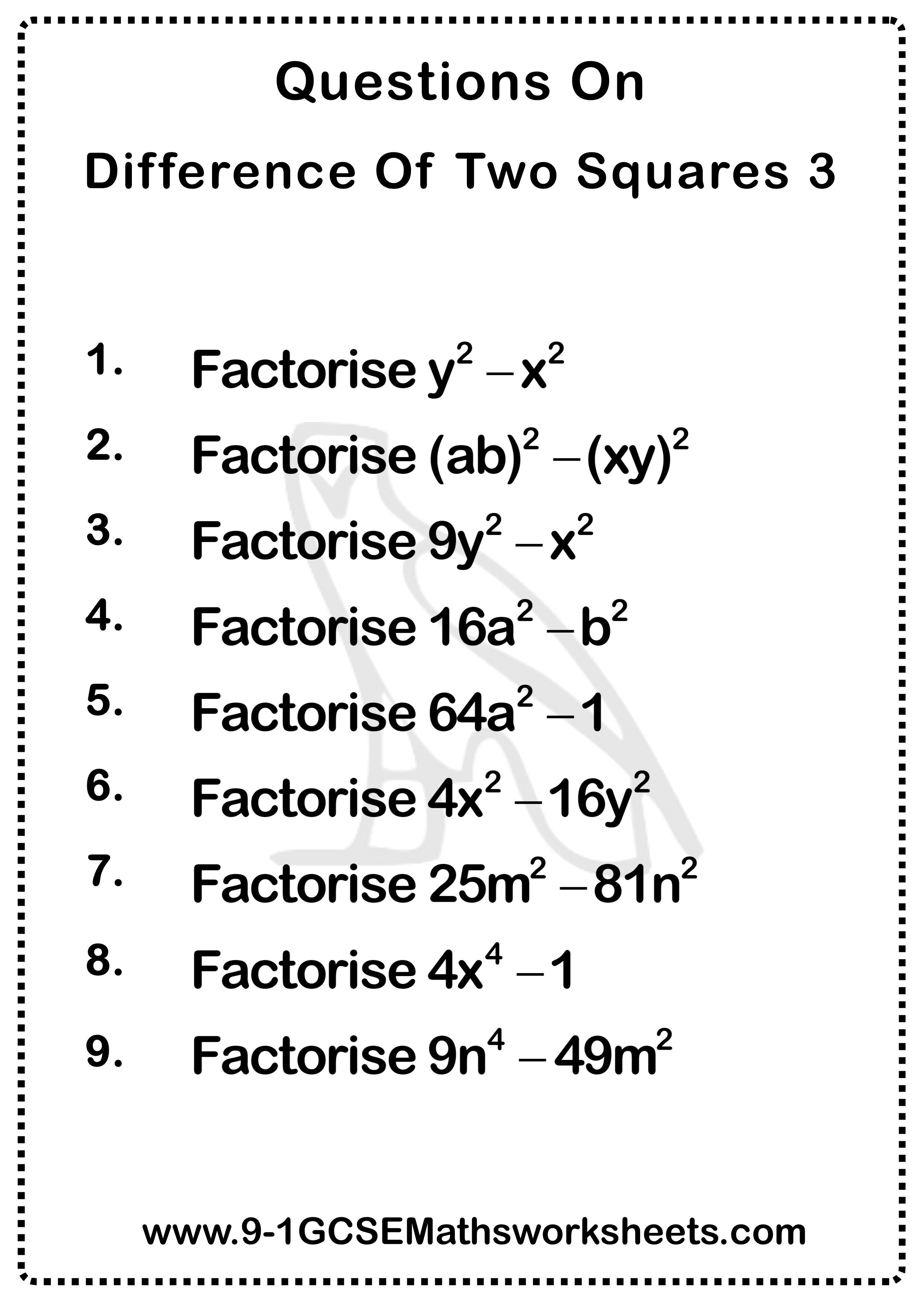 Difference Of Two Squares Worksheets