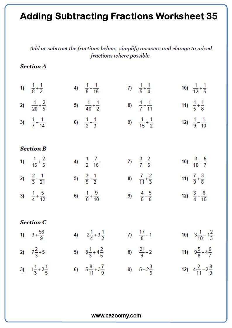 medium resolution of Adding Fractions Worksheets - New \u0026 Engaging   Cazoomy