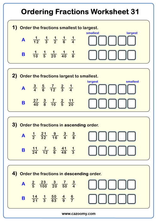 small resolution of Ordering Fractions Worksheets - New \u0026 Engaging   Cazoomy