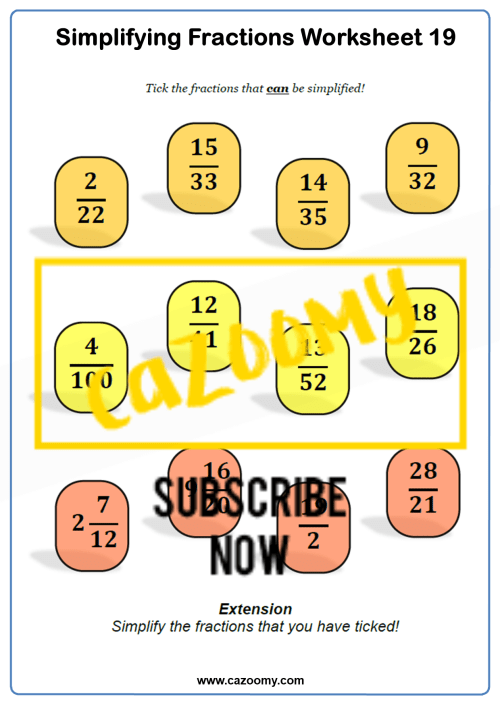 small resolution of Simplifying Fractions Worksheets - New \u0026 Engaging   Cazoomy
