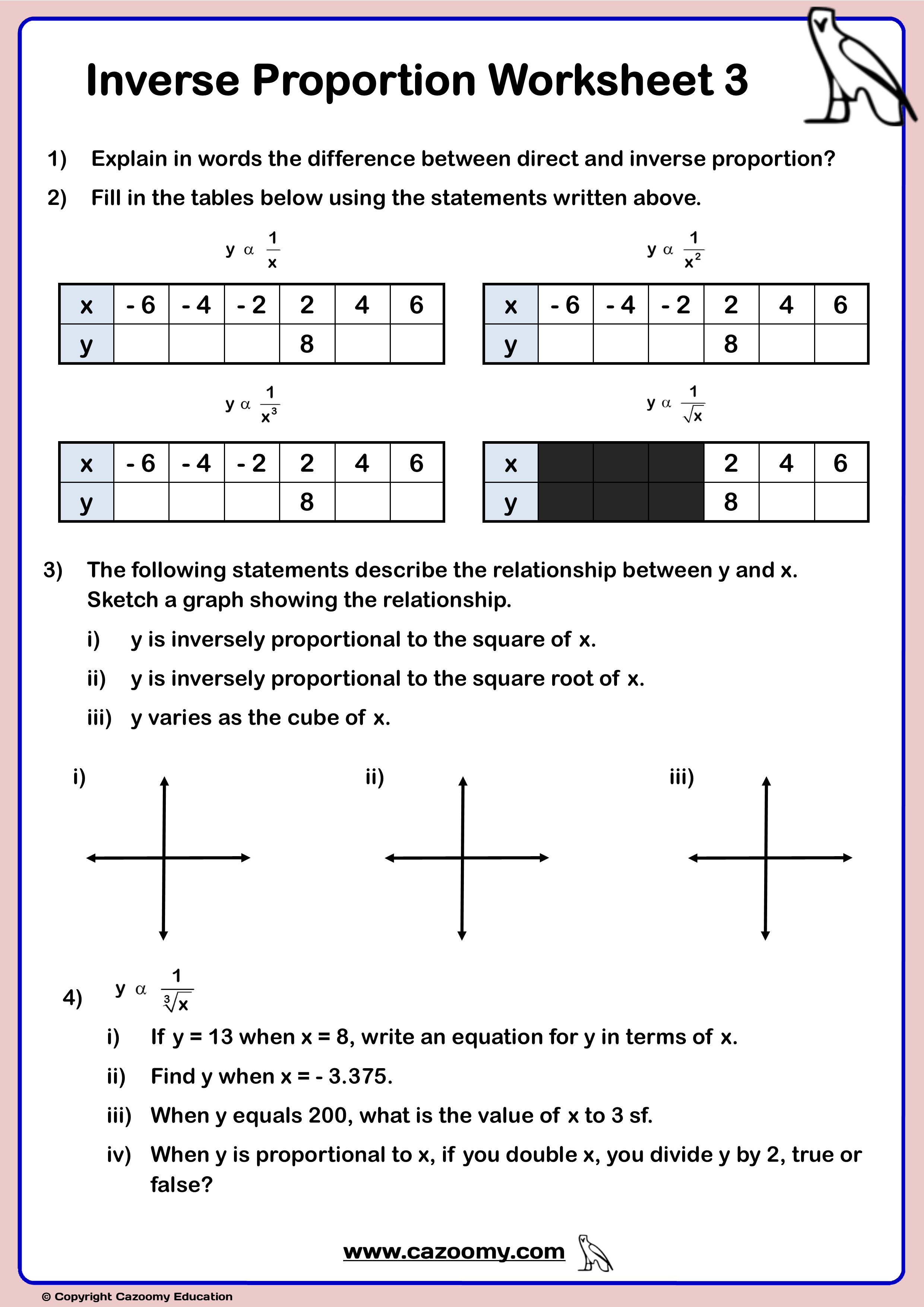 Inverse Proportion Worksheets